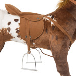 Domino comes with a removable saddle with metal stirrups
