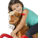 Lucky Spring Horse is made of soft, huggable plush.