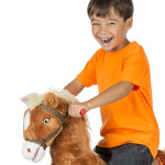Lucky Spring Horse features motion-activated galloping sounds.