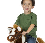 Patriot Rocking Horse's mouth moves and his tail swishes